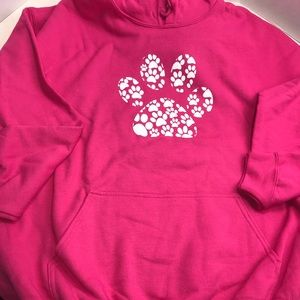 Women's Paw Hoodie Sweatshirt Pink White Pocket